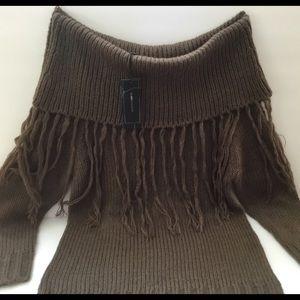 BCBGMaxazria Gecko Sweater with Fringe